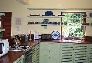 Kitchen at The Nest, our Bequia accommodation